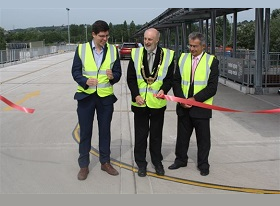 Image:  From left, Council Leader Cllr Huw Thomas, The Rt. Honourable Lord Mayor Bob Derbyshire and Cabinet Member for Clean streets & the Environment Cllr Michael Michael at the opening on Tuesday 18th July