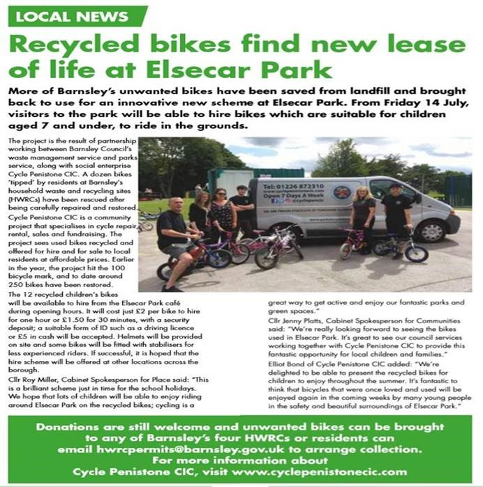 Local news articles featured the new bike scheme