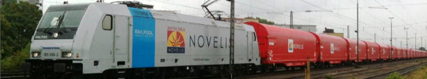 The daily Novelis train delivering ingots of recycled metal to be finished Europe