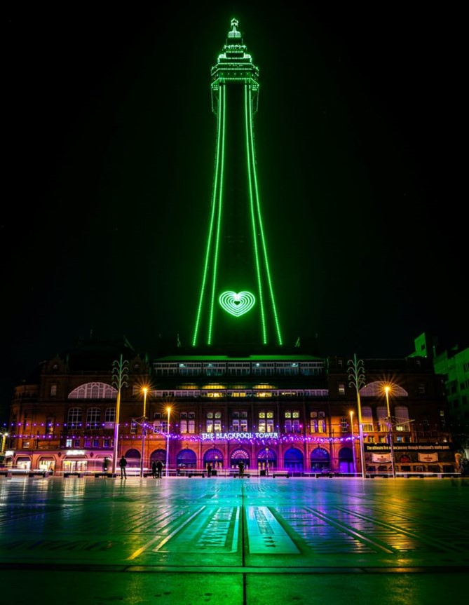 Lancashire's Blackpool Tower - in green for Recycle Week