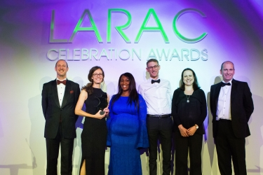 The Team of the Year Award was won by the Surrey Waste Partnership, pictured, with (r) Simon Baddeley of award sponsor Biffa and  (l) Lee Marshall, LARAC