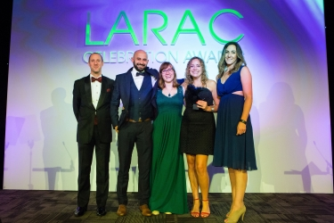 Bristol Waste Company won the Best Waste Minimisation/Prevention award, pictured with (r) Alyce Morris of award sponsor Repic and (l) Lee Marshall, LARAC