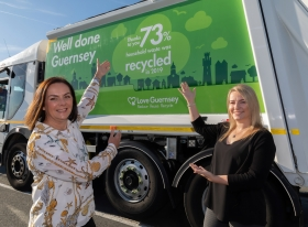 Tina and Sarah (l-r) celebrate achieving a 73% recycling rate in 2019